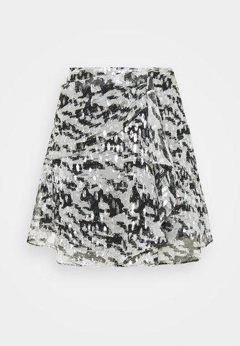 DILIAN - Mini skirt - black/white/silver