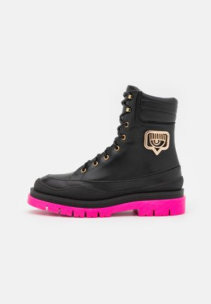 HICKING BOOT - Lace-up ankle boots - black/pink