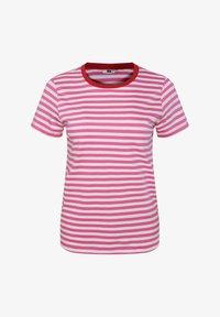 WE Fashion - WE FASHION DAMES GESTREEPT T-SHIRT - T-shirt z nadrukiem - pink - 4
