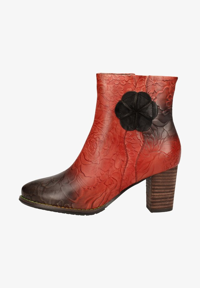 Cowboy/biker ankle boot - rouge