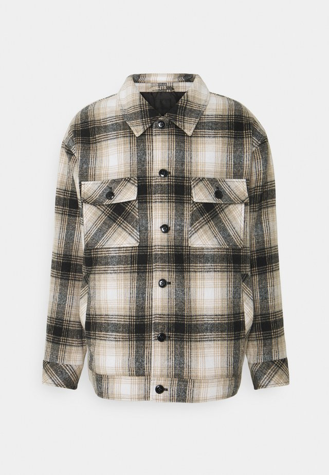 FLECK CHECK - Summer jacket - black/ecru