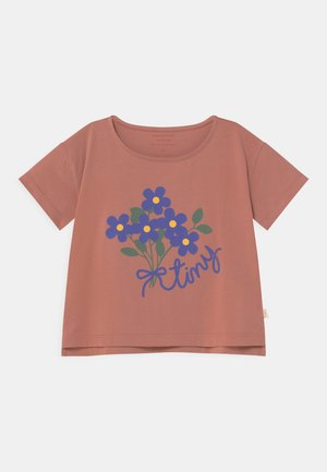 TINY BOUQUET CROP - T-shirt con stampa - earth