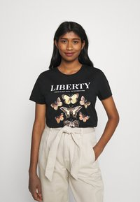 ONLY - ONLLINA LIFE BOX - T-shirts med print - black - 0