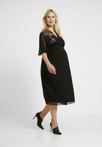 Hope & Ivy Maternity - BEADED WRAP KIMONO DRESS - Day dress - black - 2