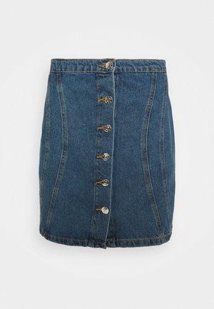 ONLRUBY LIFE PANEL - Mini skirt - medium blue denim