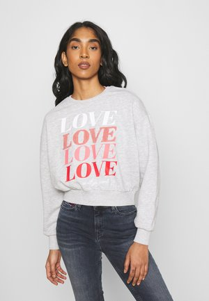 ONLLOVE LIFE O NECK - Sweatshirt - light grey