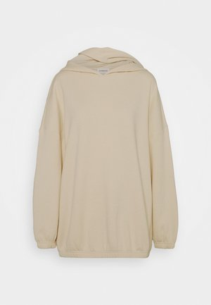 Long oversize hoodie with elastic hem - Felpa con cappuccio - off white