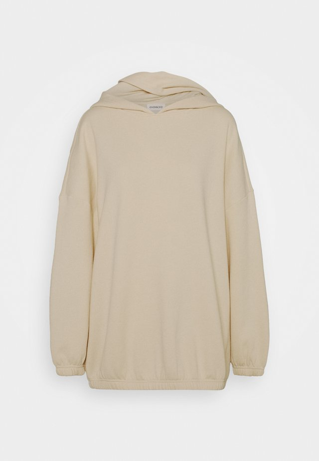 Long oversize hoodie with elastic hem - Jersey con capucha - off white