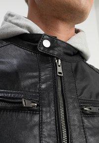 Serge Pariente - SEAN - Leather jacket - black/light grey hood - 4