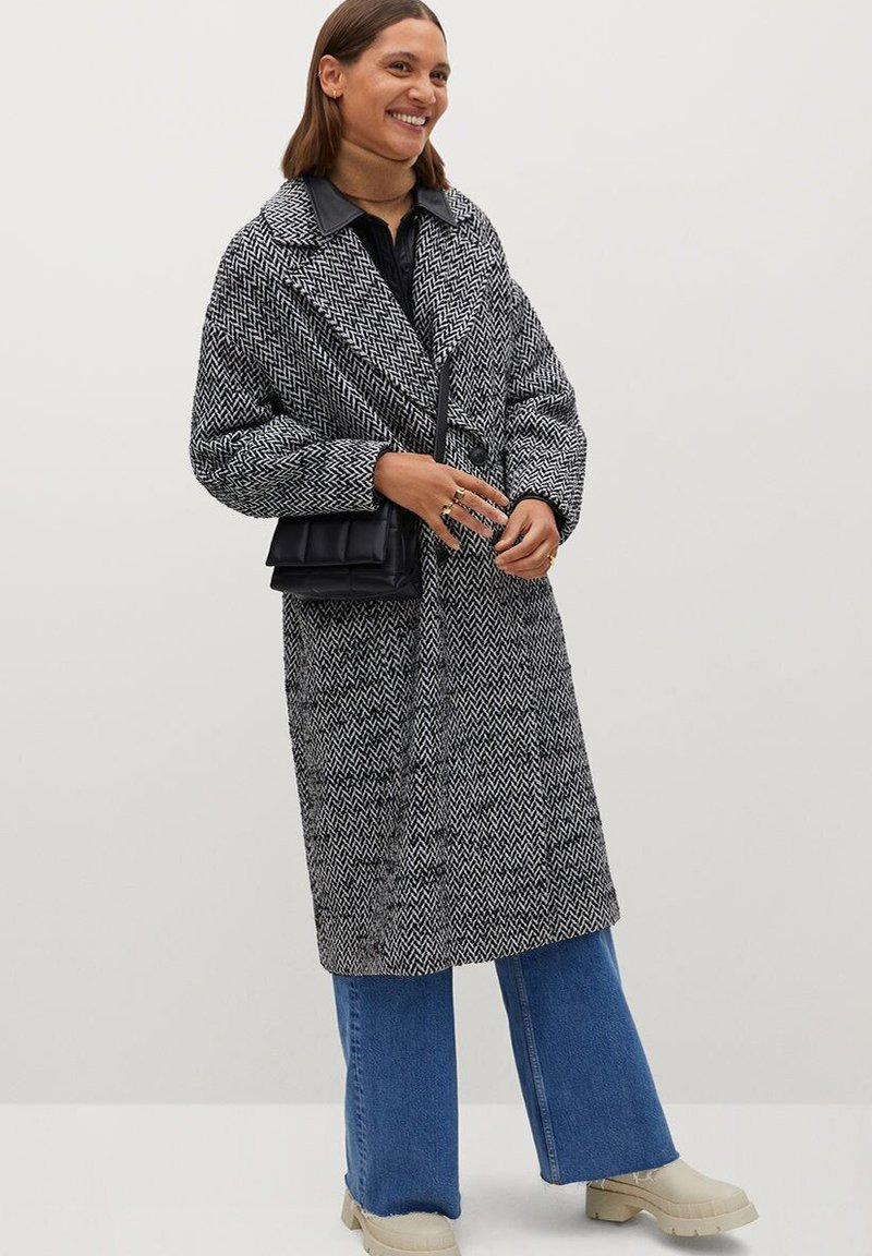 Mango - IN WICKEL-OPTIK - Classic coat - schwarz