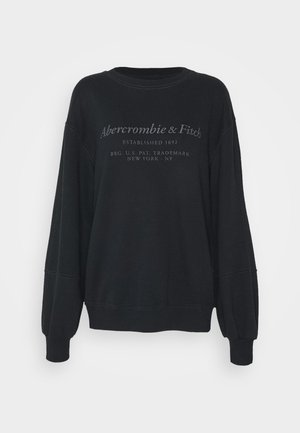 ITALICS SEAMED LOGO CREW - Sweatshirt - black