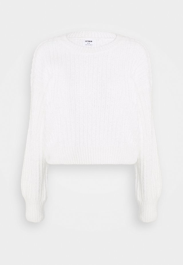 CROPPED BLOUSON - Strickpullover - cloud dancer