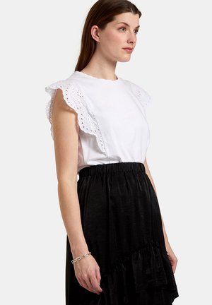 BRODERIE TOP - T-shirt print - white