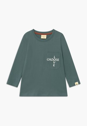 EMBROIDERED POCKET - Long sleeved top - steel