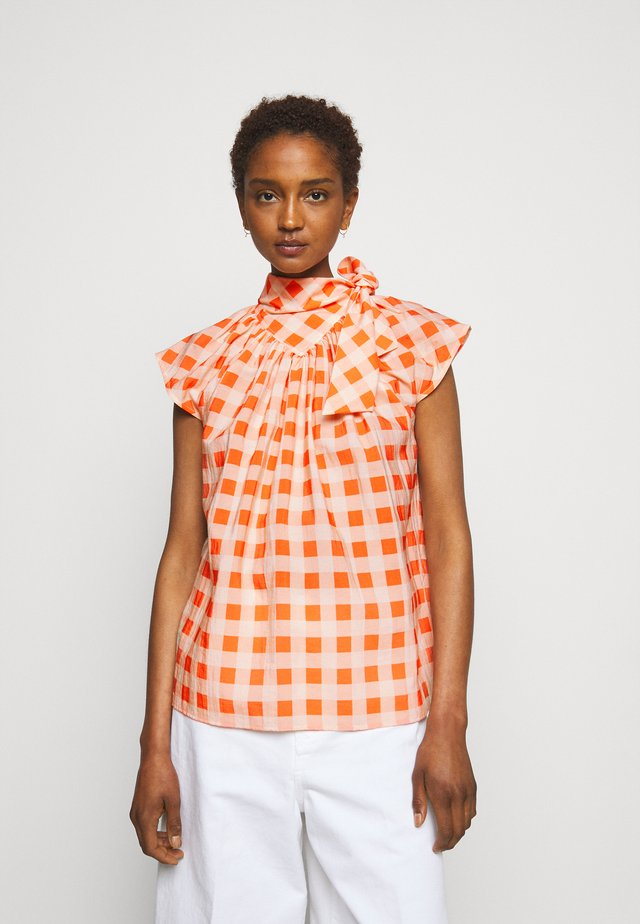 GINGHAM CHECK BOW DETAIL  - T-shirt print - orange zest/white sand
