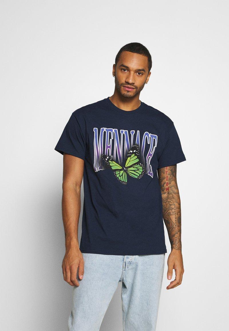 Mennace - BUTTERFLY  - T-shirt med print - navy