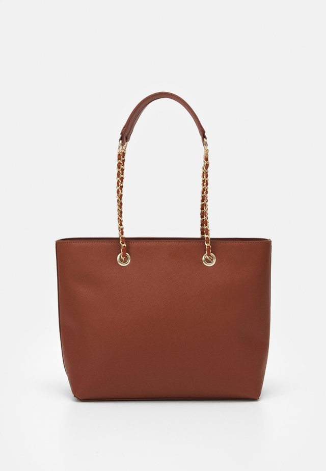 CHAIN HANDLE - Shopping Bag - cognac/gold
