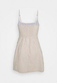 Abercrombie & Fitch - BARE WRAP SHORT DRESS - Day dress - white/tan - 1