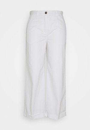 PANTS WIDE LEG MEDIUM RISE TURN UP - Trousers - cloud white