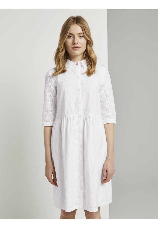 MIT LOCHSTICKEREI - Shirt dress - white