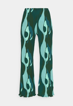 SWIRL SMUDGE PLISSE TROUSER - Broek - teal