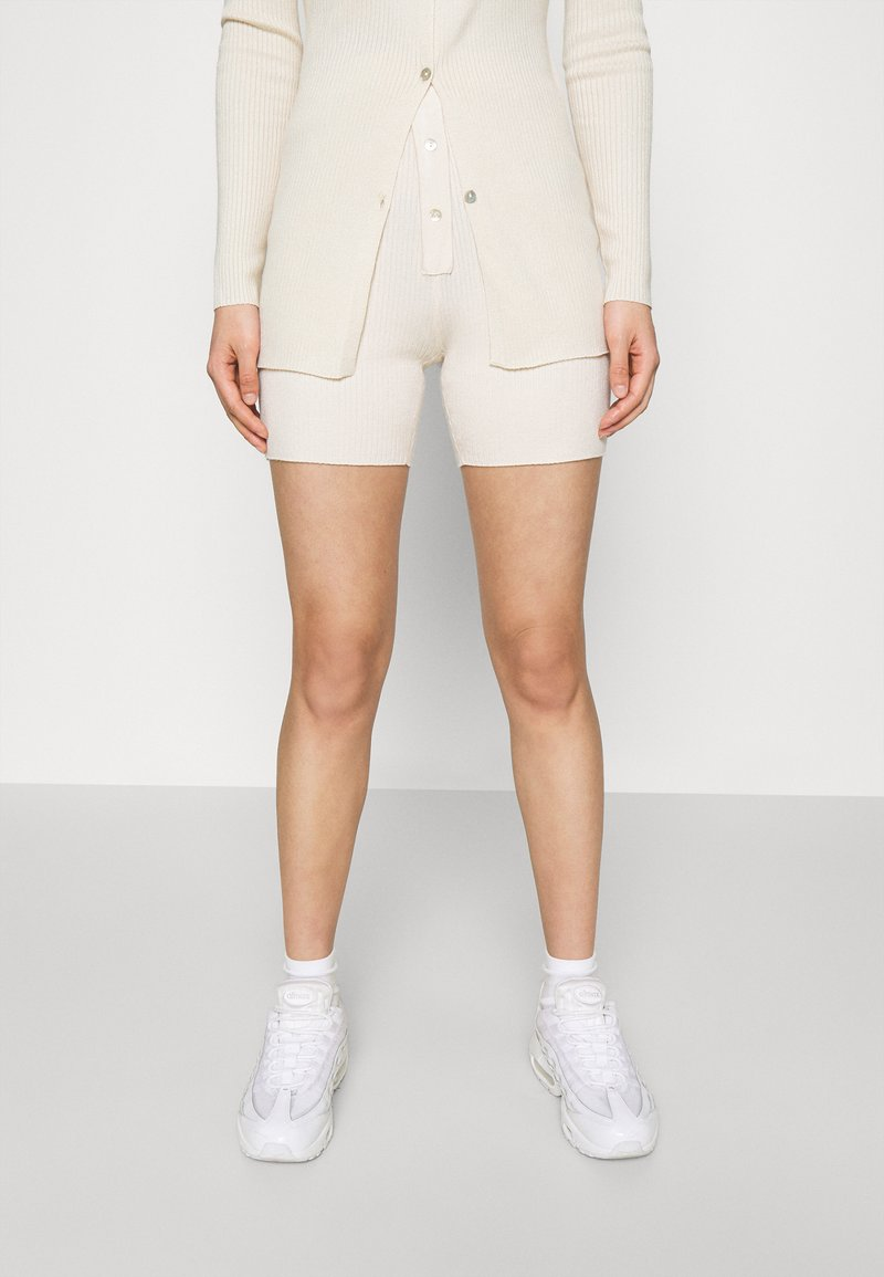 Missguided - LONGLINE CARDIGAN AND BUTTON CYCLING SET - Cardigan - cream