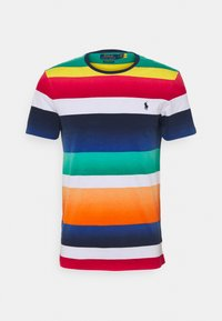 CUSTOM SLIM FIT STRIPED CREWNECK T-SHIRT - T-shirt med print - spectrum orange multi