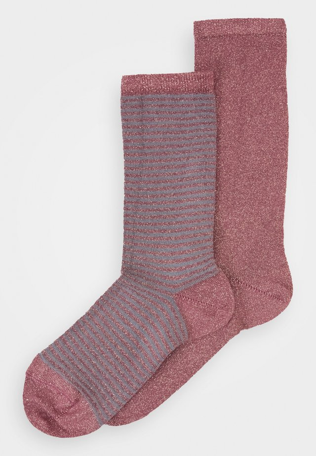 MEI SOFT PLAIN STRIPES 2 PACK - Sokker - old rose/grey