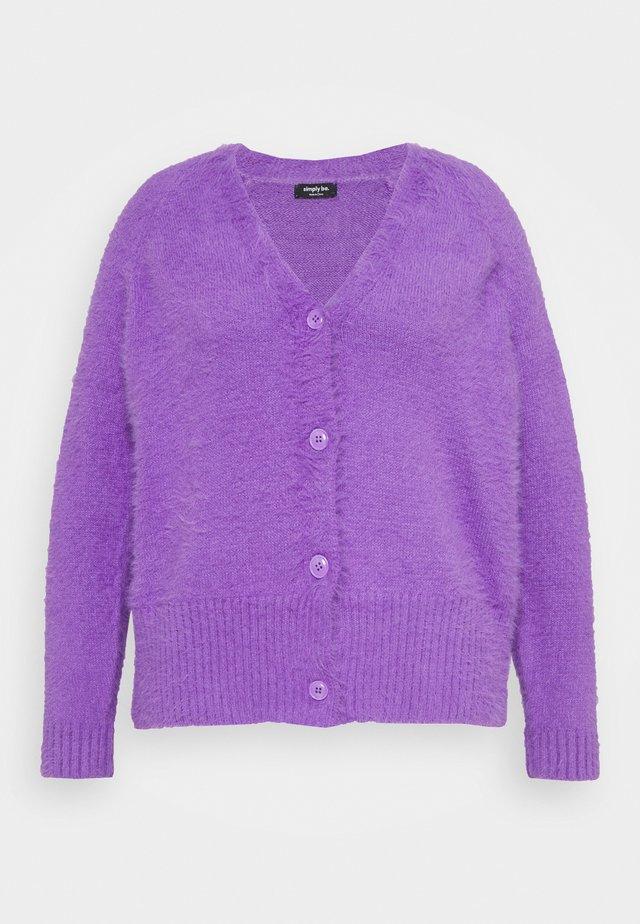FLUFFY V NECK CARDI - Neuletakki - violet