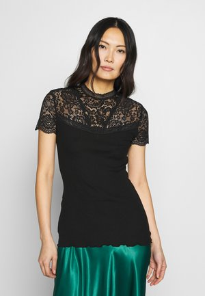 SILK-MIX T-SHIRT TURTLENECK REGULAR W/LACE - T-shirts med print - black