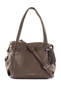 JETTE - Handbag - truffle / shiny silver - 1