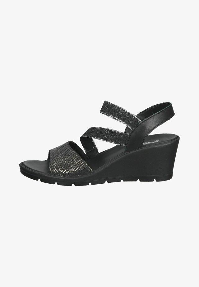 Sandalen met sleehak - anthazit/schwarz