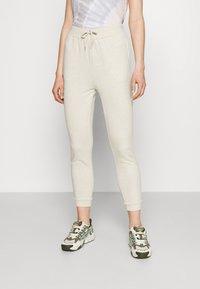 Even&Odd - 2er PACK - Slim fit joggers - Tracksuit bottoms - black/mottled beige - 1
