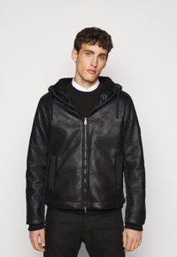EA7 Emporio Armani - GIUBBOTTO - Leather jacket - black - 0