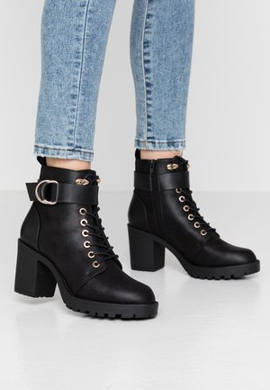 ONLBARBARA BUCKLE LACEUP - Ankle boots - black