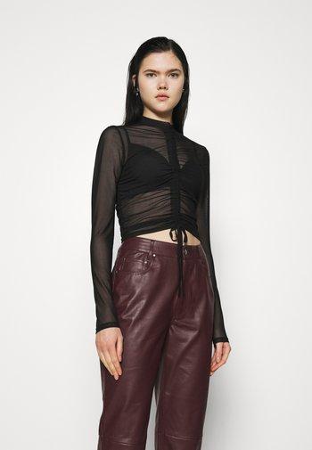 DRAWSTRING - Long sleeved top - black