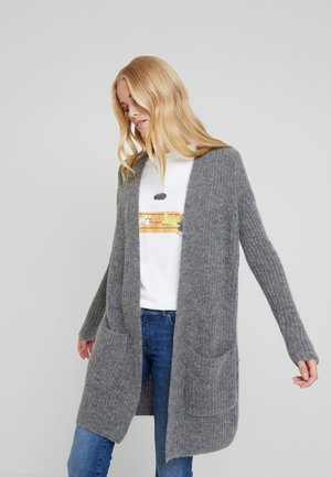 CARDIGAN LONGSLEEVE OPEN FRONT STRUCTURED AND PATCHED POCKETS - Kardigan - middle stone melange