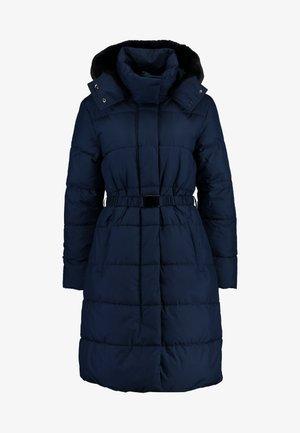 LONG PUFFER FUR TRIM HOOD - Zimní kabát - preppy navy