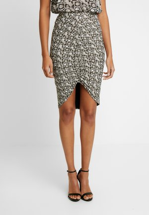 PRINTED RUCHED SKIRT - Pencil skirt - beige