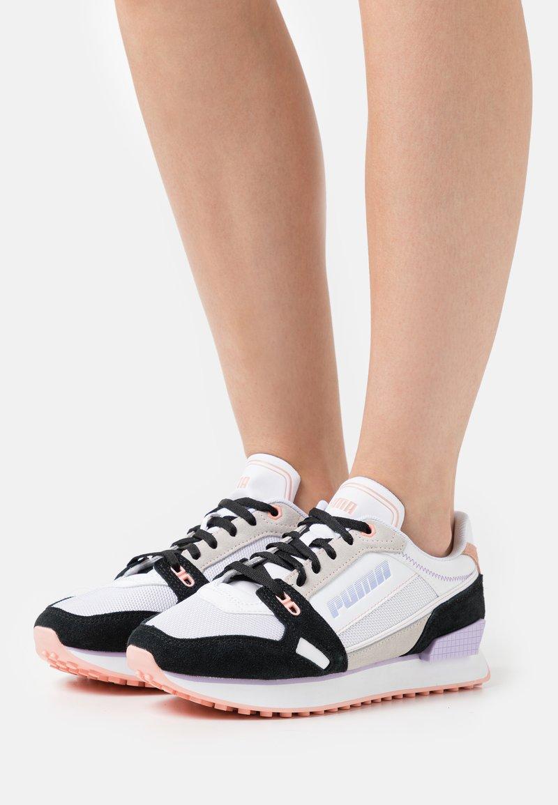 Puma - MILE RIDER POWER PLAY - Trainers - white/black/apricot blush