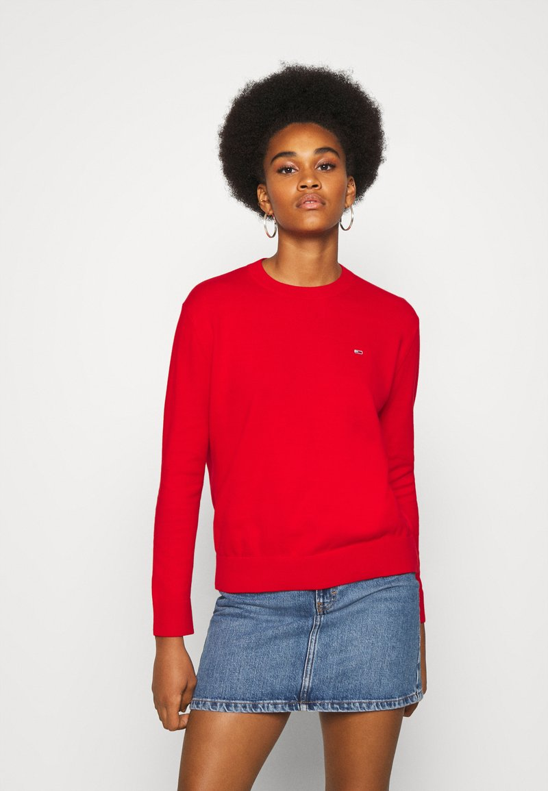 Tommy Jeans - SOFT TOUCH CREW SWEATER - Sweter - deep crimson