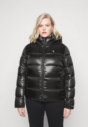 SHINY SHORT PUFFER - Winter jacket - black