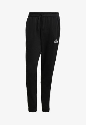 ESSENTIALS FRENCH TERRY TAPERED 3-STRIPES JOGGERS - Verryttelyhousut - black