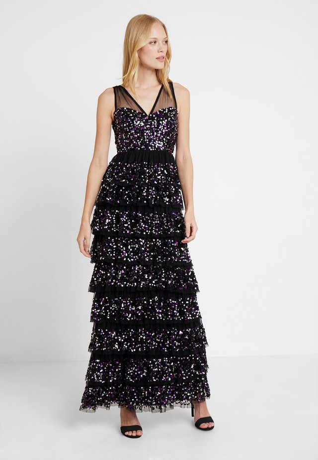TIERED EMBELLISHED MAXI WITH CONTRAST SEQUIN - Gallakjole - black/multi