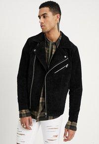 Jack & Jones - JORDANE - Leather jacket - black - 0