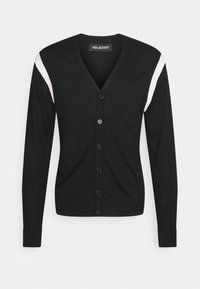 TRAVEL CARDIGAN WITH CONTRAST INTARSIA INSERT - Jumper - black/white