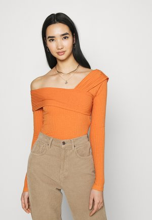 NA-KD X ZALANDO EXCLUSIVE OFFSHOULDER DETAIL - T-shirt à manches longues - nougat