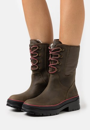 MALYNN LACE MID WP - Lace-up boots - olive