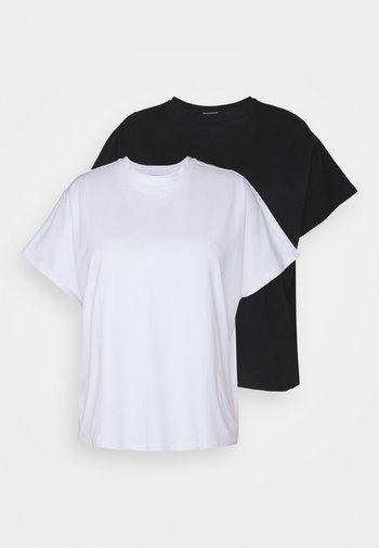 NMHAILEY  2 PACK - Basic T-shirt - black/bright white