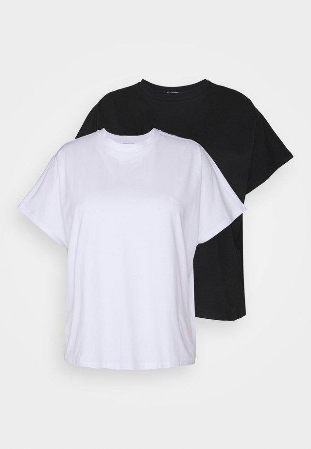 NMHAILEY  2 PACK - T-shirt basic - black/bright white